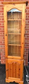 Pine, glass-fronted, display cabinet