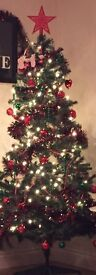 6 ft Christmas tree with decorations