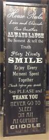 LARGE HOUSE RULES WOODEN 'CANVAS'