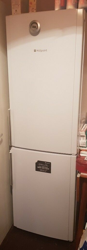 hot point fridge freezer white silver handles brilliant condition