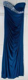 Blue long strapless diamanté cocktail party or evening dress