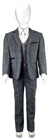 Boys NAVY/GREY TWEED 3 Piece Formal Tailored Fit Casual Smart Suit Wedding Prom