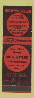 Matchbook Cover - Hotel Mayfair Coffee Shop Sioux City IA