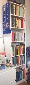 180x42x29 Tall Half-Width White Bookcase / Bookshelf