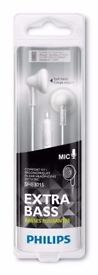 Philips In-ear Headphones with Mic Earbud She3015 White: Brand new unopened