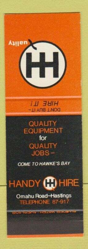 Matchbook Cover - Handy Hire Equipment Hastings New Zealand SAMPLE