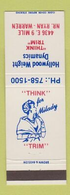 Matchbook Cover - Hollywood Weight Dynamics Warren MI Cover Weight Paper