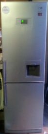 Platinum Silver, Huge LG Forst Free F/F With Water Dispenser For Sale-- A+ Rated