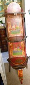 Antique Indian unique rare beautifully hand painted wood and bronze free standing shelving display