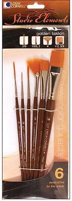 Loew Cornell STUDIO ELEMENTS 1024936 GOLDEN TAKLON Brush Set 2/0 10/.2 4 1/2 3/4 ()