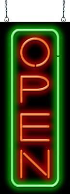 Deluxe Open Vertical Red Green Neon Sign Jantec 2 Sizes Cafe Bar