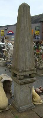 Large Obelisk on Pedestal - Hand Carved from Solid Natural Stone - Height 218cm