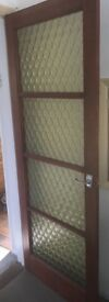 1970s vintage internal wood and glass doors and matching hatch