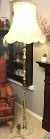 Vintage Onyx Floor Lamp With Shade. (TQ1 4DX)