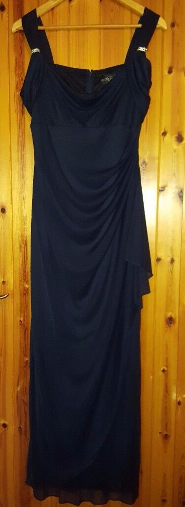 Betsy & Adam navy full length formal gown, Size 10.