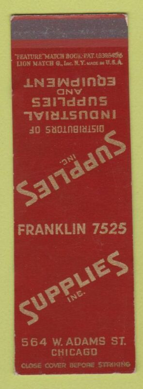 Matchbook Cover - Supplies Inc Equipment Chicago IL Feature SAMPLE