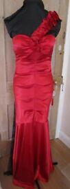Red satin fishtail dress