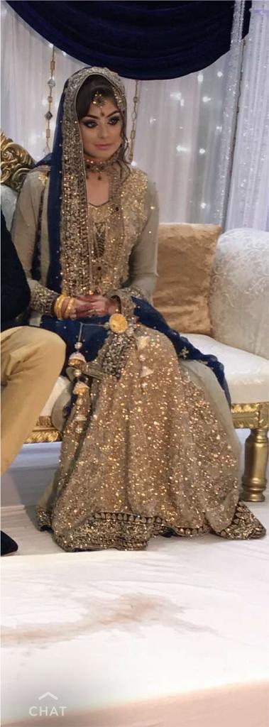 Wedding Dress Indian Bridal Khaki And Royal Blue With