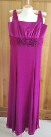 MONSOON Dress Strappy Fuchsia Pink Embroidery With Sash 100% Pure Silk Empire Line/ Ball/ Christmas