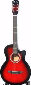 Acoustic Guitar for beginners children students smaller adults iMusic205 red