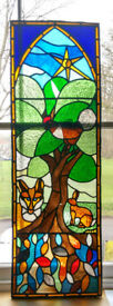 Vintage Lead framed Stained Glass Window by NA Lloyd