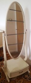 French Style Furniture. Freestanding Bedroom Mirror. Ivory colour. House Clearance.