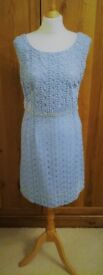 VINTAGE 1960 Wiggle Dress Empire Silhouette Blue Satin Lace & Pearl Crystal Beads Heavy Gown Wedding