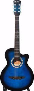 Blue Acoustic Guitar for beginners 38 inch iMusic203 Brand New