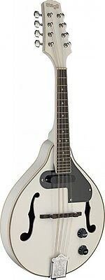 NEW Stagg M50 E Premium A Style Bluegrass Acoustic Electric Mandolin - White