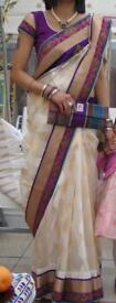 Saree - pearl border with blouse