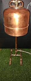 Upcycled copper lamp