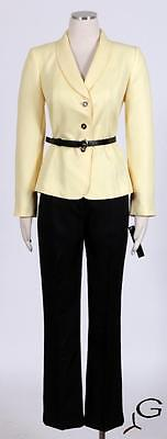 Tahari Yellow Black Pant Suit Size 10P Women's Textured New $280 *