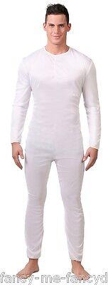 Herren Einfach Weiß Anonymous Overall Body Tanz Kostüm Kleid (Einfache Herren Kostüm)