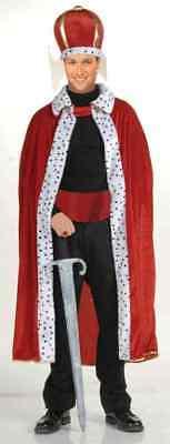 Herren Erwachsene Rot König Robe und Krone Satz Kostüm