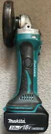 Makita DGA452 Angle Grinder with 3 AH Battery.