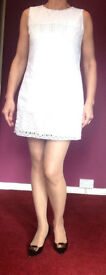 White summer Smart casual dress size 12, 100% COTTON in very good condition