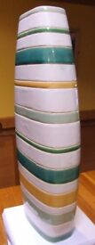 Handmade, Contemporary, Tall Green, Cream & Yellow Stripped tall Vase