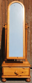 Ducal Victoria solid Pine Cheval mirror with drawer
