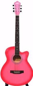 Pink acoustic guitar free capo and strap 40 inch brand New iMusic32 iMusicGuitar