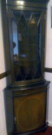 Dark wood corner display cabinet and dark wood computer cabinet