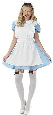 Damen Traditionell Alice Im Wunderland Kostüm Kleid Outfit 8-22 Übergröße