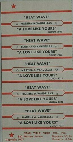 "JUKEBOX TITLE STRIP SHEET - MARTHA & THE VANDELLAS ""Heat Wave"" Gordy 7022"