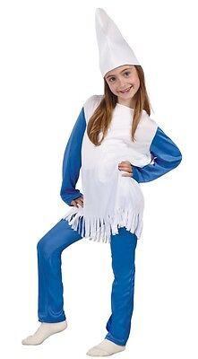Mädchen Blau Weiß Gnome Büchertag Woche Halloween Kostüm Kleid Outfit 5-12yr (Gnome Halloween Kostüm)
