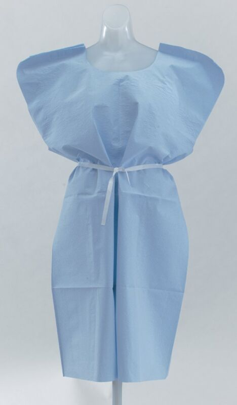 Hospital Patient Gown 50ct 30 x 42in Reg. Economy Front/Back Opening Blue