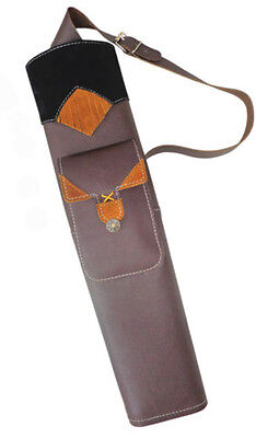 121 FINE BROWN MILD LEATHER BACK SIDE ARROW QUIVER WITH FRONT SIDE POCKET AQ