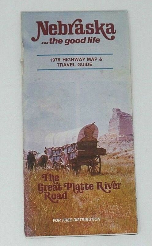 Nebraska State Highway Road Map and Travel Guide Covered Wagon Cover Vtg 1978