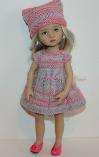 """Outfit FOR Effner 10"""" Boneka Monday Child Dolls= Hand knit Dress & Hat - NEW"""