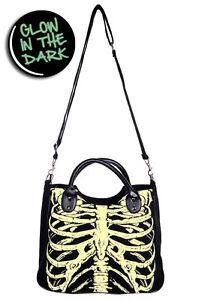 Glow-In-The-Dark-Skeleton-Ribcage-Shoulder-Bag-handbag-Goth-emo-rockabilly-black