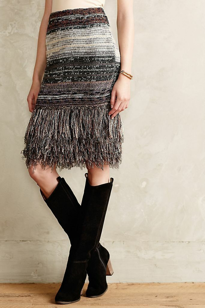 Anthropologie Cecilia Prado Glinted Sweater Skirt With Fringe Size S NWT 188  - $69.00