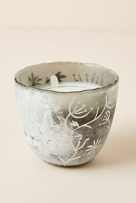 Anthropologie Candle ILLUME Grey ARBORETUM Silver NIGHT GARDENIA Paint Glass NWT
